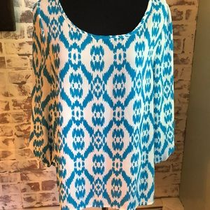 Teal and white boutique blouse